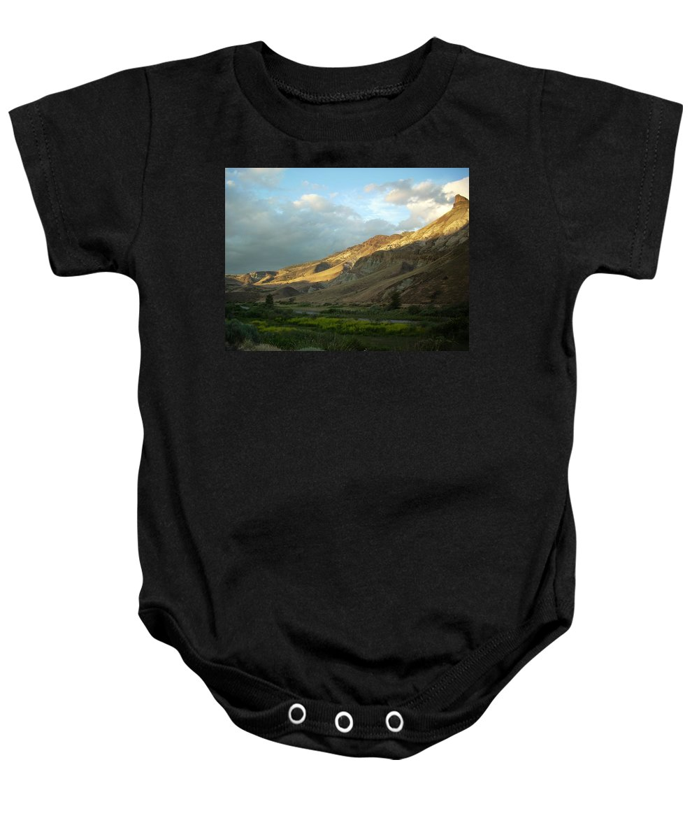 Sunset Baby Onesie featuring the photograph J D Sunset by Sara Stevenson