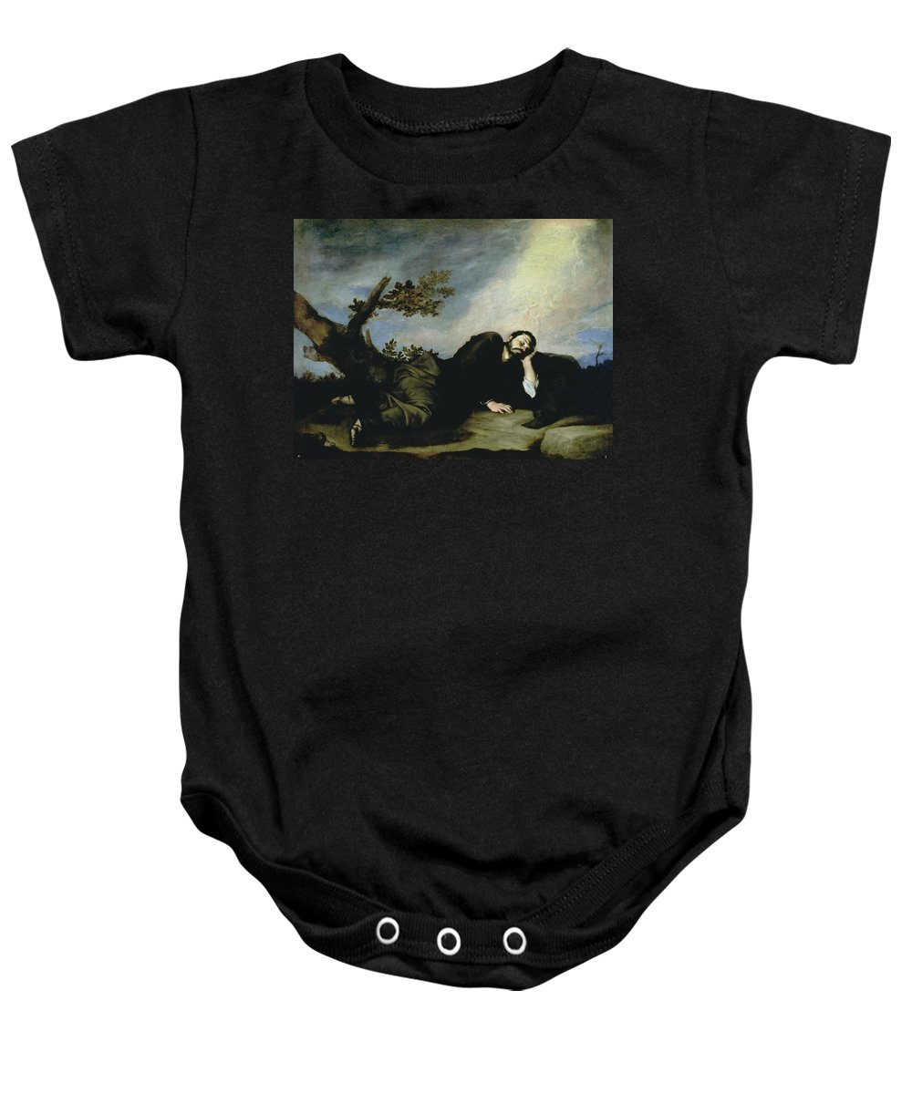 Jacob's Dream Baby Onesie featuring the painting Jacobs Dream by Jusepe de Ribera
