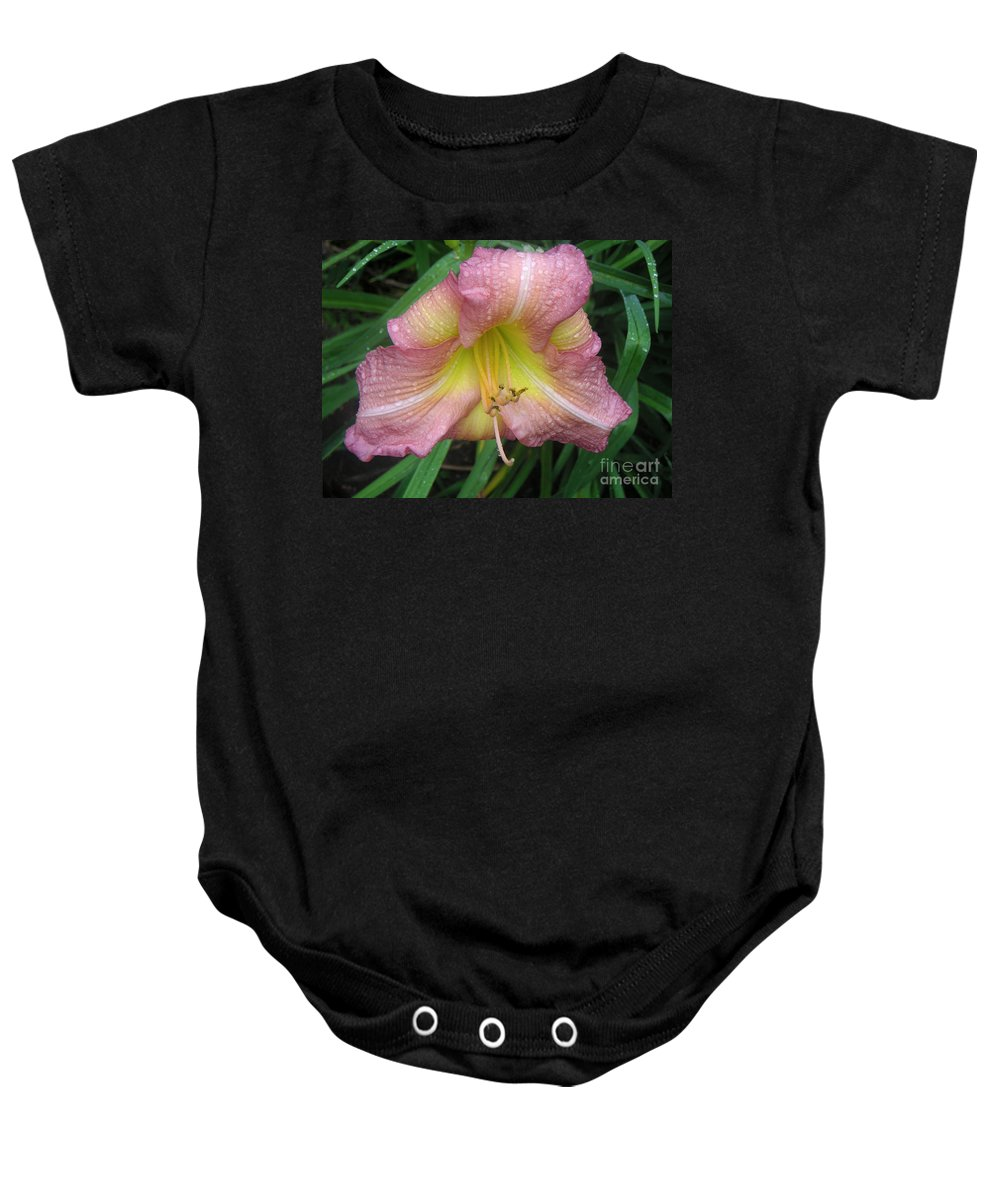 Nature Baby Onesie featuring the photograph Jacqueline's Garden - Lily Glistening Too by Lucyna A M Green