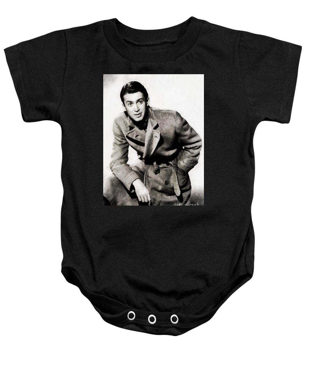 Hollywood Baby Onesie featuring the painting James Stewart, Hollywood Legend By John Springfield by John Springfield