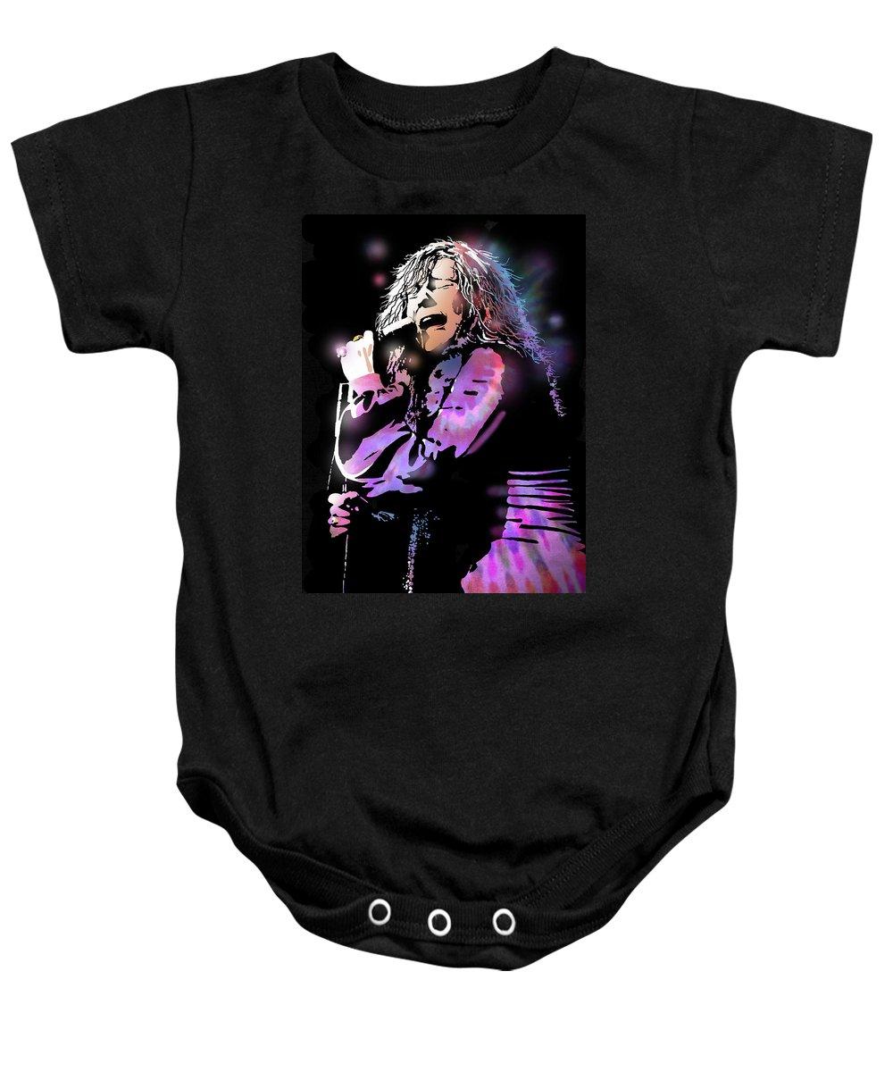 Blues Baby Onesie featuring the painting Janis Joplin by Paul Sachtleben
