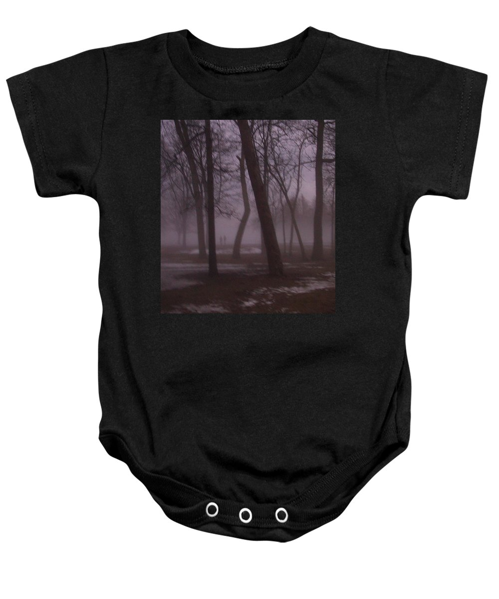 January Baby Onesie featuring the photograph January Fog 1 by Anita Burgermeister