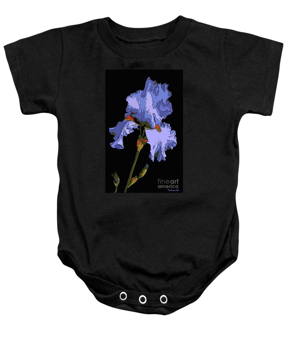 Iris Baby Onesie featuring the painting Japanese Iris-blue Beauty by Dragica Micki Fortuna
