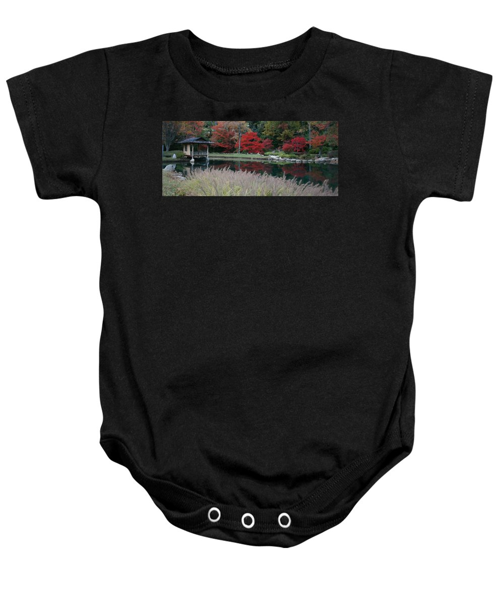 Japanese Baby Onesie featuring the mixed media Japanese Serenity by Tina Meador
