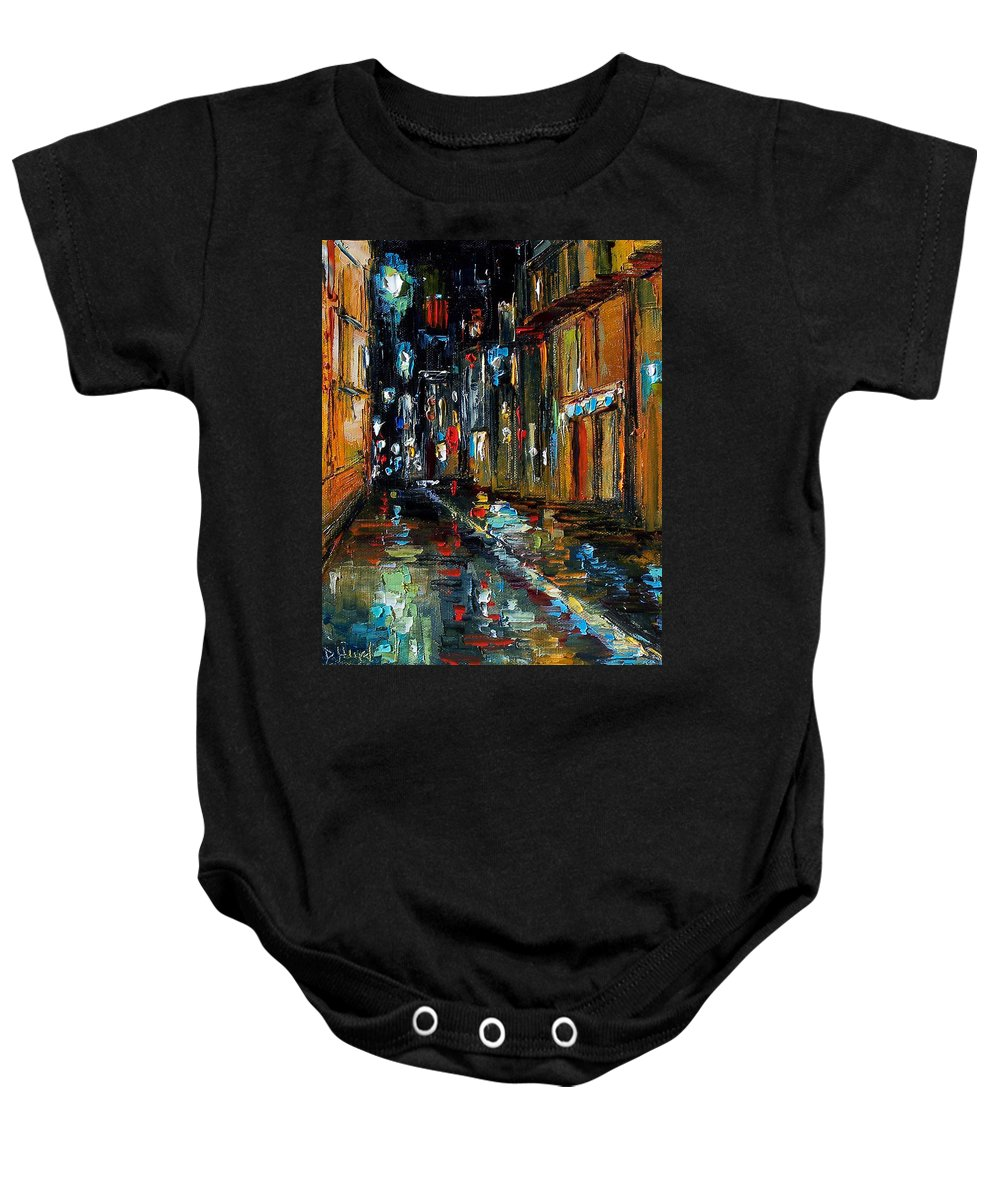 New Orleans Baby Onesie featuring the painting Jazz Alley by Debra Hurd