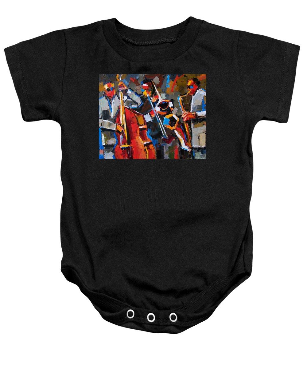 Jazz Baby Onesie featuring the painting Jazz Angles by Debra Hurd