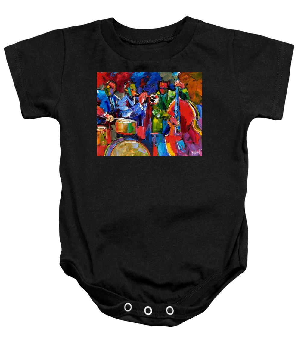 Jazz Baby Onesie featuring the painting Jazz Beat by Debra Hurd