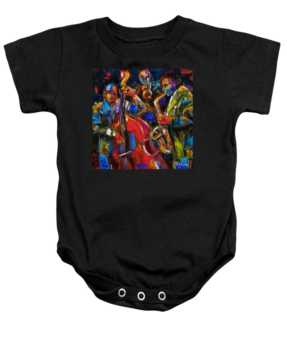 Jazz Baby Onesie featuring the painting Jazz by Debra Hurd