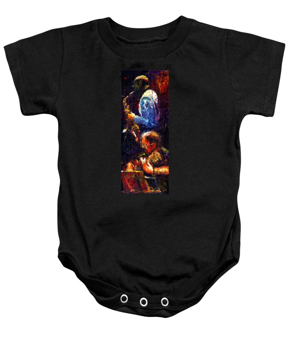 Jazz Baby Onesie featuring the painting Jazz Duet by Yuriy Shevchuk