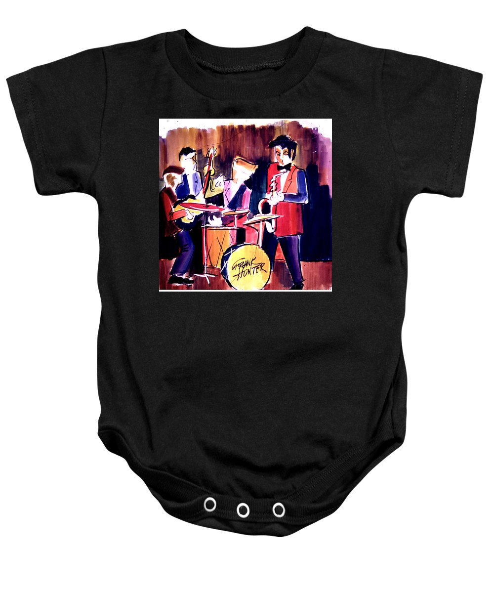 Jazz Band Drum Baby Onesie featuring the painting Jazz by Frank Hunter