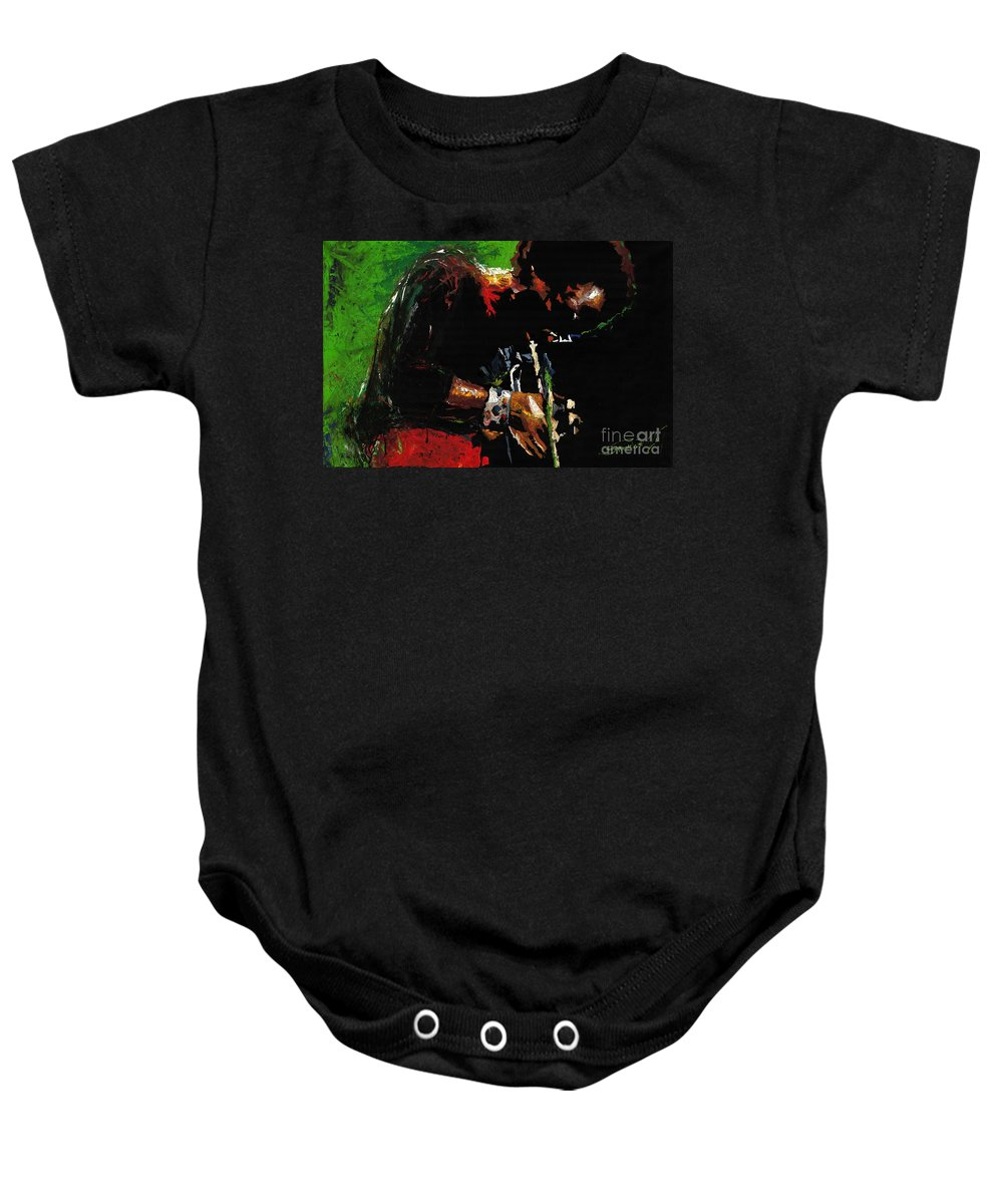 Jazz Baby Onesie featuring the painting Jazz Miles Davis 1 by Yuriy Shevchuk