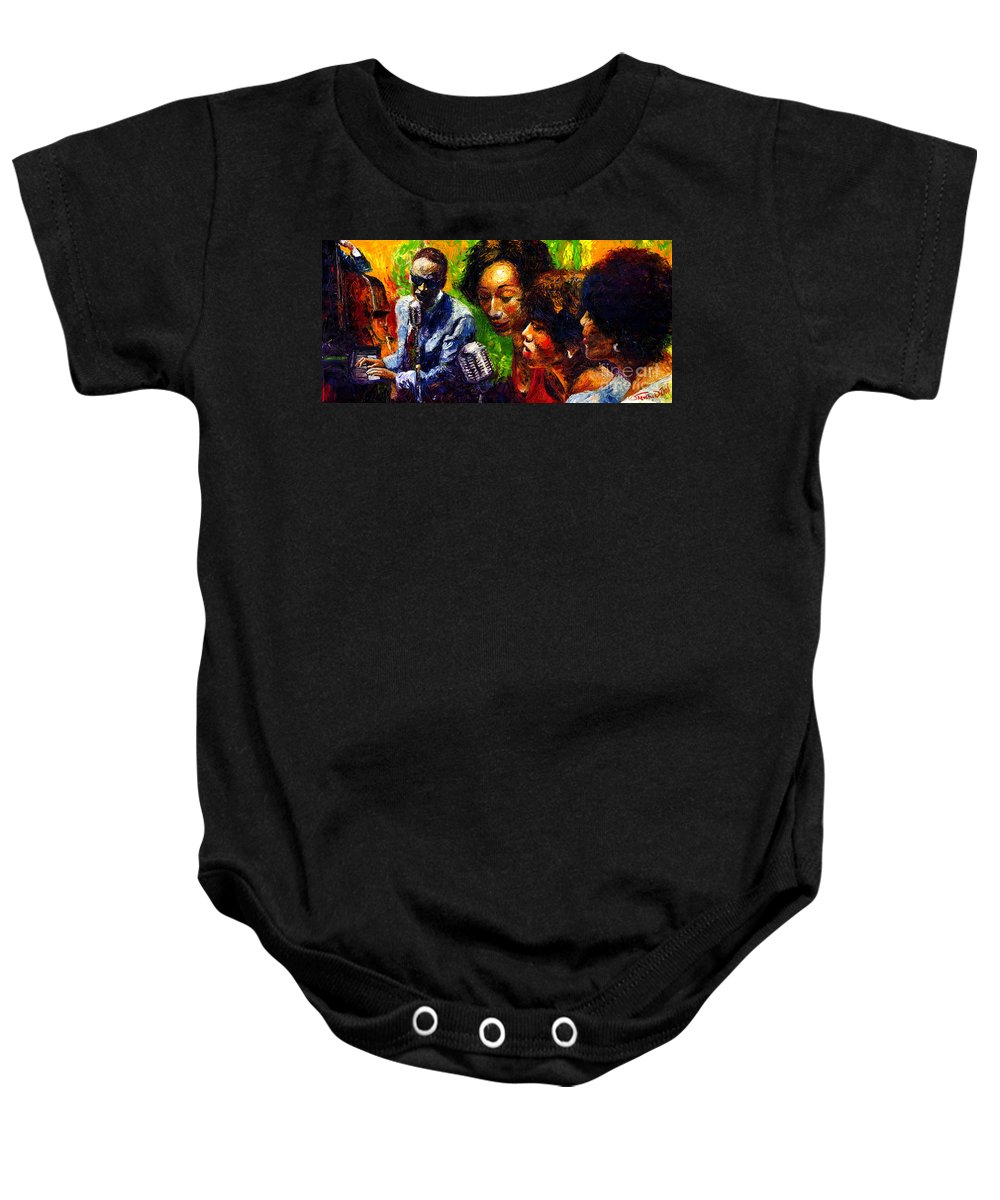 Jazz Baby Onesie featuring the painting Jazz Ray Song by Yuriy Shevchuk