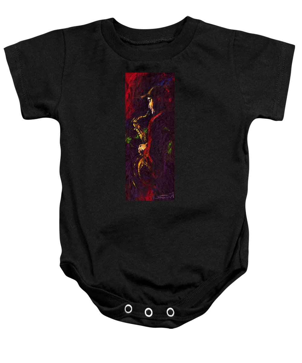 Jazz Baby Onesie featuring the painting Jazz Red Saxophonist by Yuriy Shevchuk
