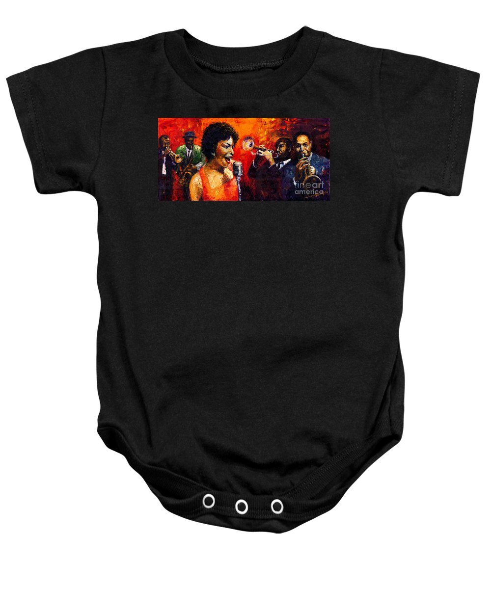 Jazz.song.trumpeter Baby Onesie featuring the painting Jazz Song by Yuriy Shevchuk