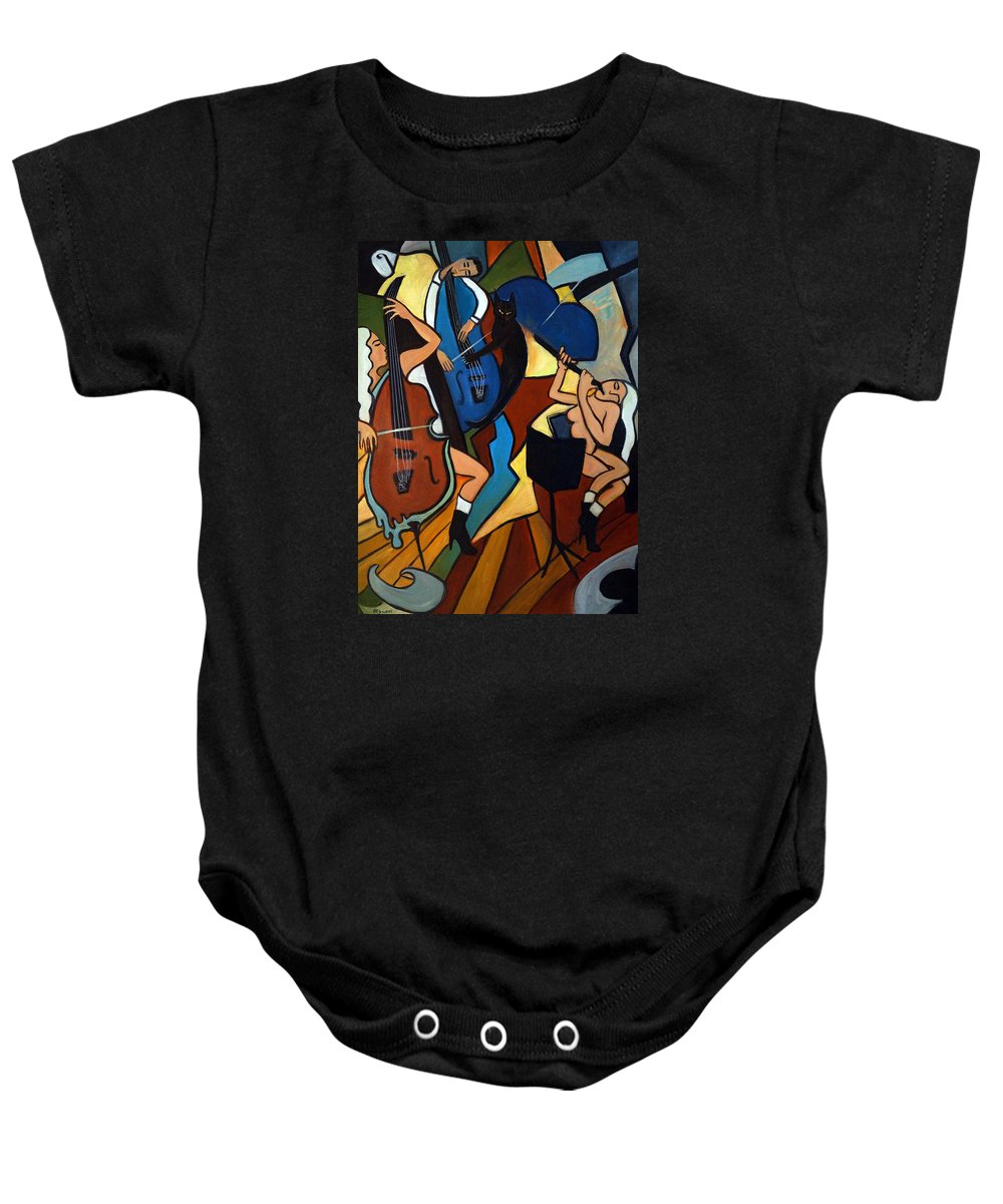 Musicians Baby Onesie featuring the painting Jazz Trio by Valerie Vescovi