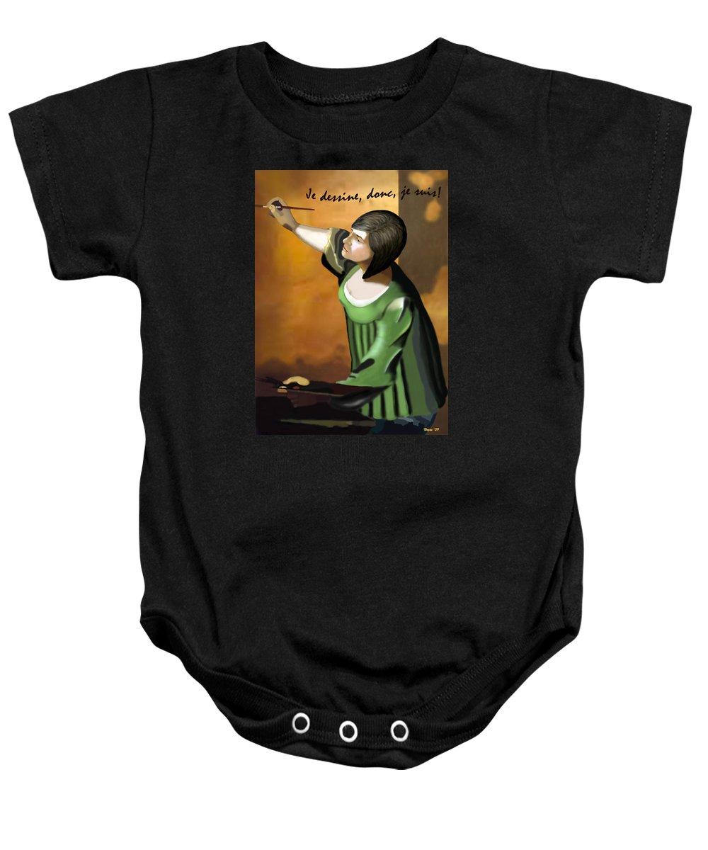 Illustration Baby Onesie featuring the digital art Je Dessine Donc Je Suis by Lois Boyce