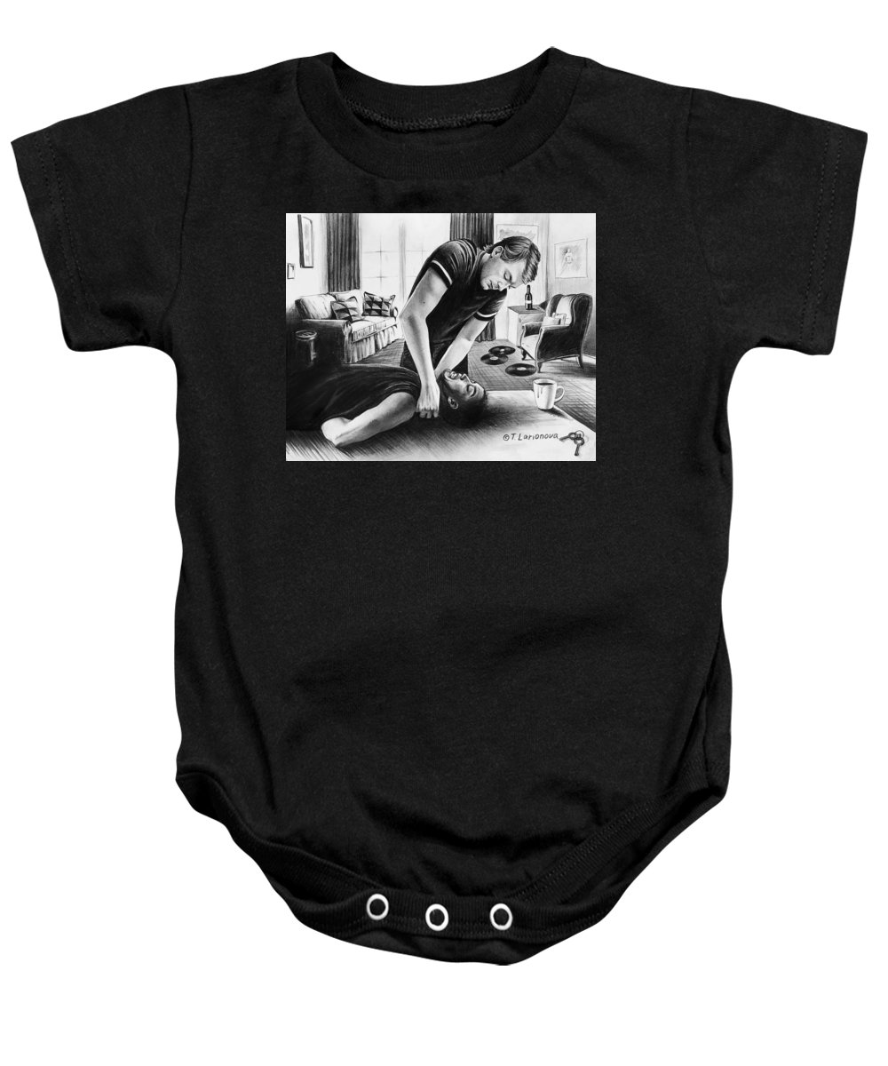 People Baby Onesie featuring the drawing Jeffrey Dahmer Is Recieving New Guest by Tania Larionova