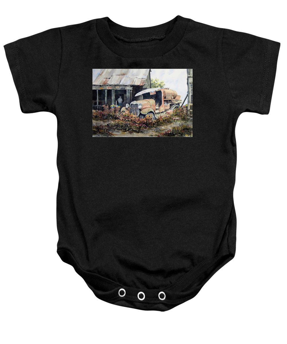 Truck Baby Onesie featuring the painting Jeromes Tank Truck by Sam Sidders