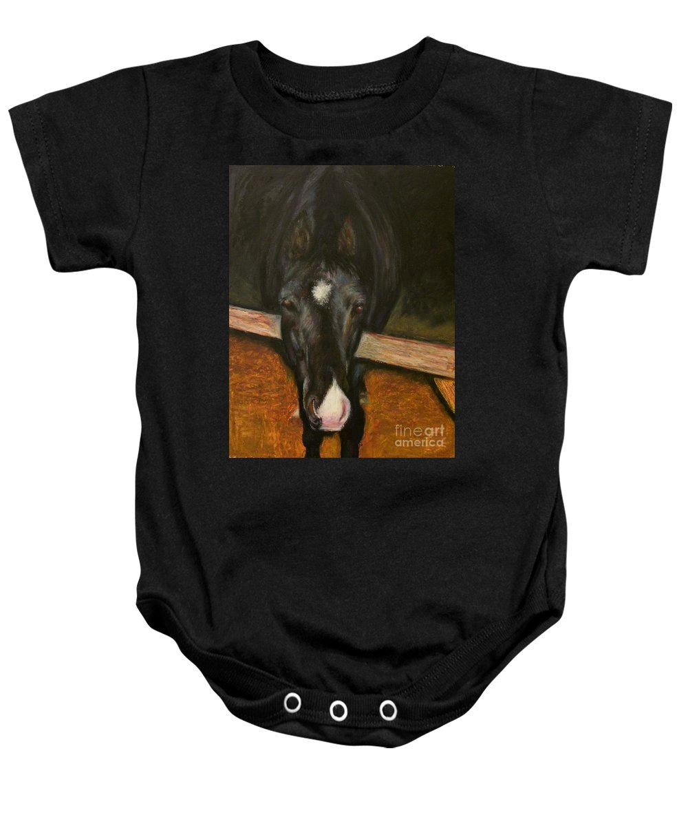 Horse Baby Onesie featuring the painting Jesse by Frances Marino