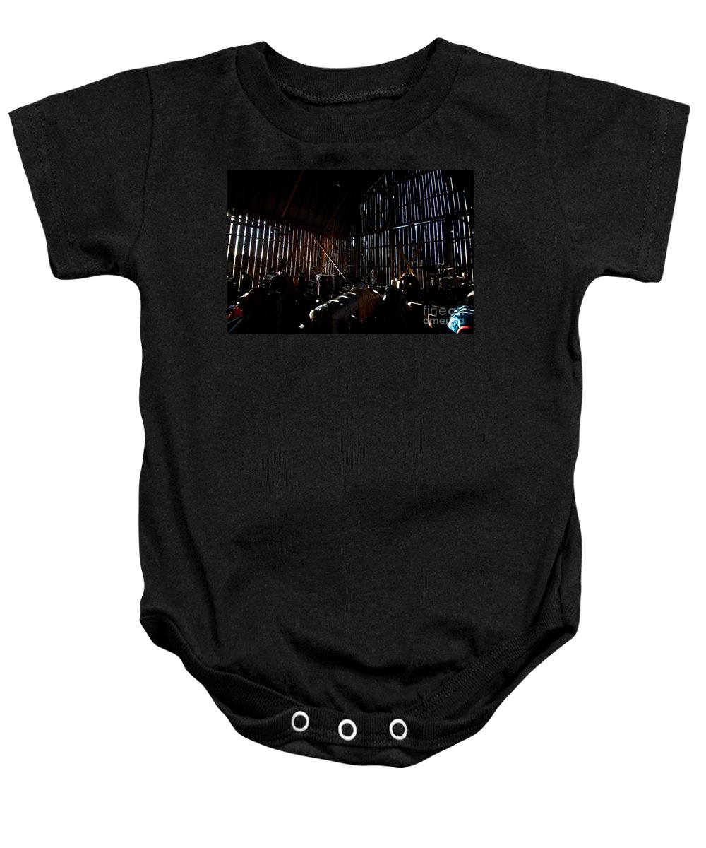 Barn Baby Onesie featuring the photograph Jesse's In The Barn by Steven Dunn