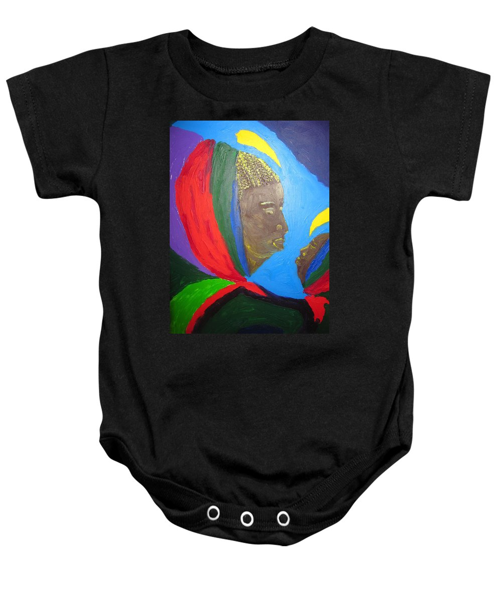 Jesus Baby Onesie featuring the painting Jesus And His Mother Mary by Gloria Ssali