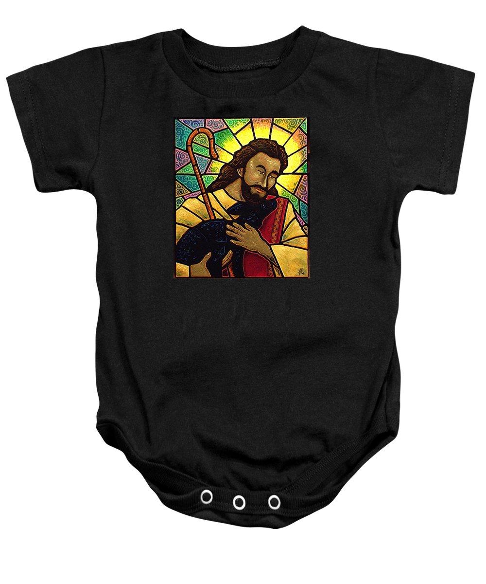 Jesus Baby Onesie featuring the painting Jesus The Good Shepherd by Jim Harris