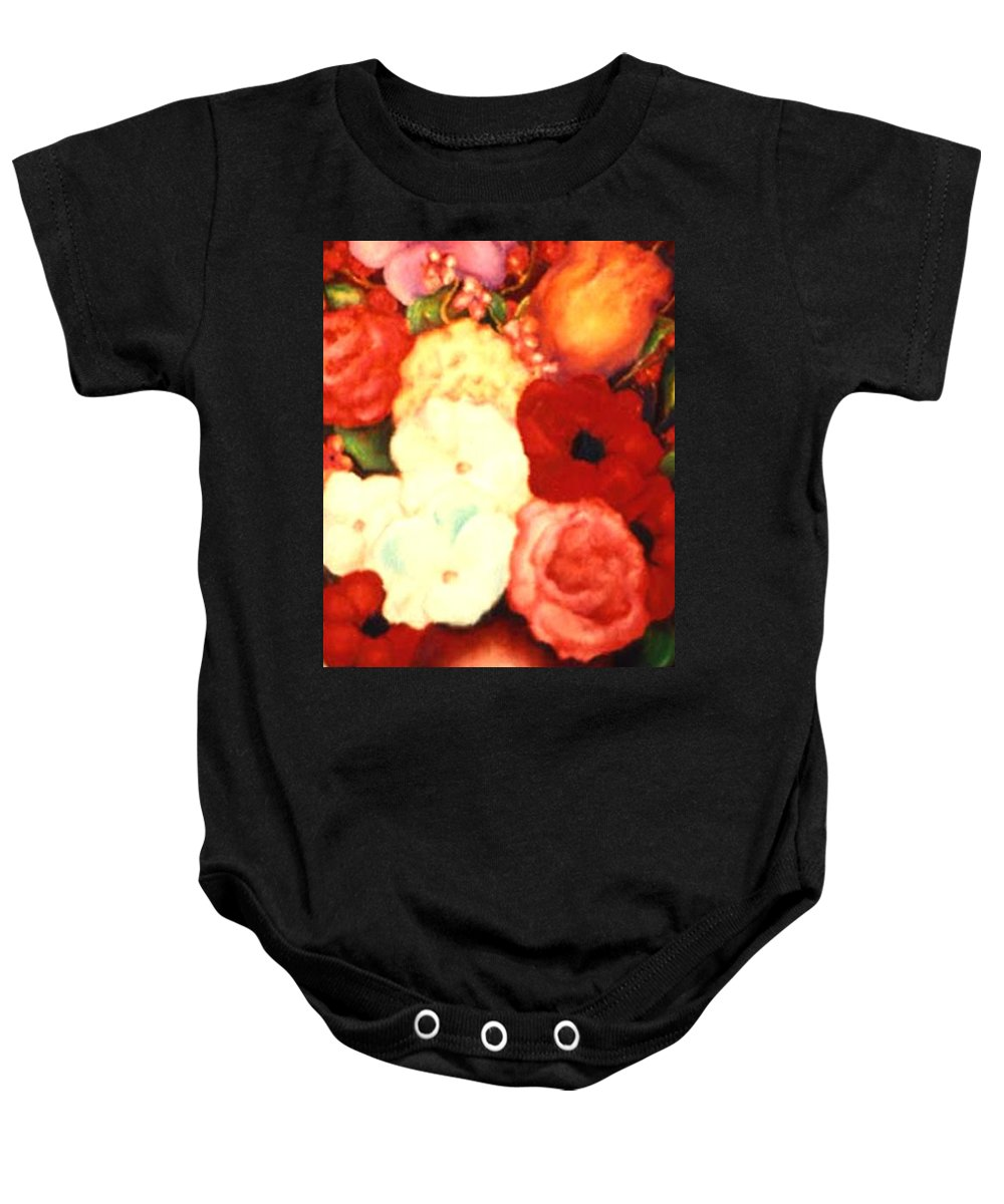 Flowers Baby Onesie featuring the painting Jewel Flowers by Jordana Sands