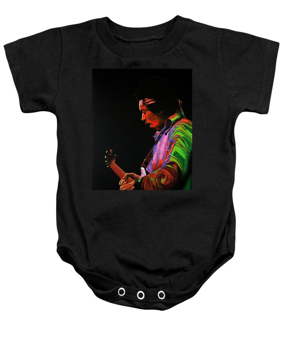 Jimi Hendrix Baby Onesie featuring the painting Jimi Hendrix 4 by Paul Meijering