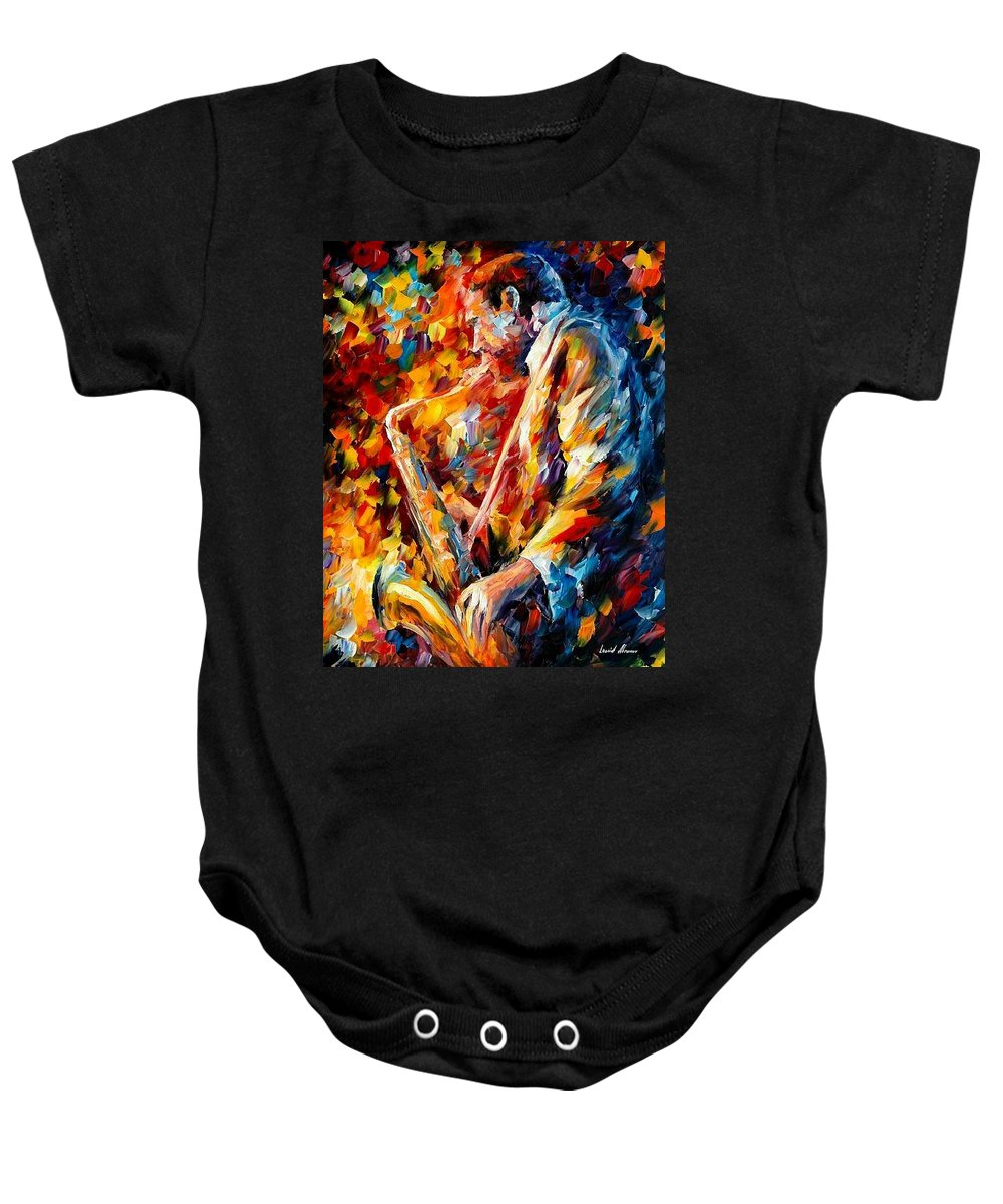 Music Baby Onesie featuring the painting John Coltrane by Leonid Afremov