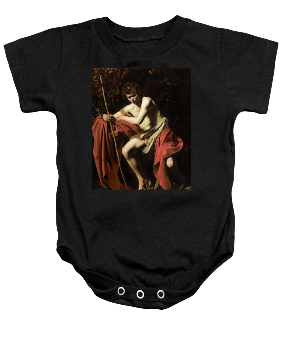 Italian Baby Onesie featuring the painting John In The Wilderness by Michelangelo Caravaggio