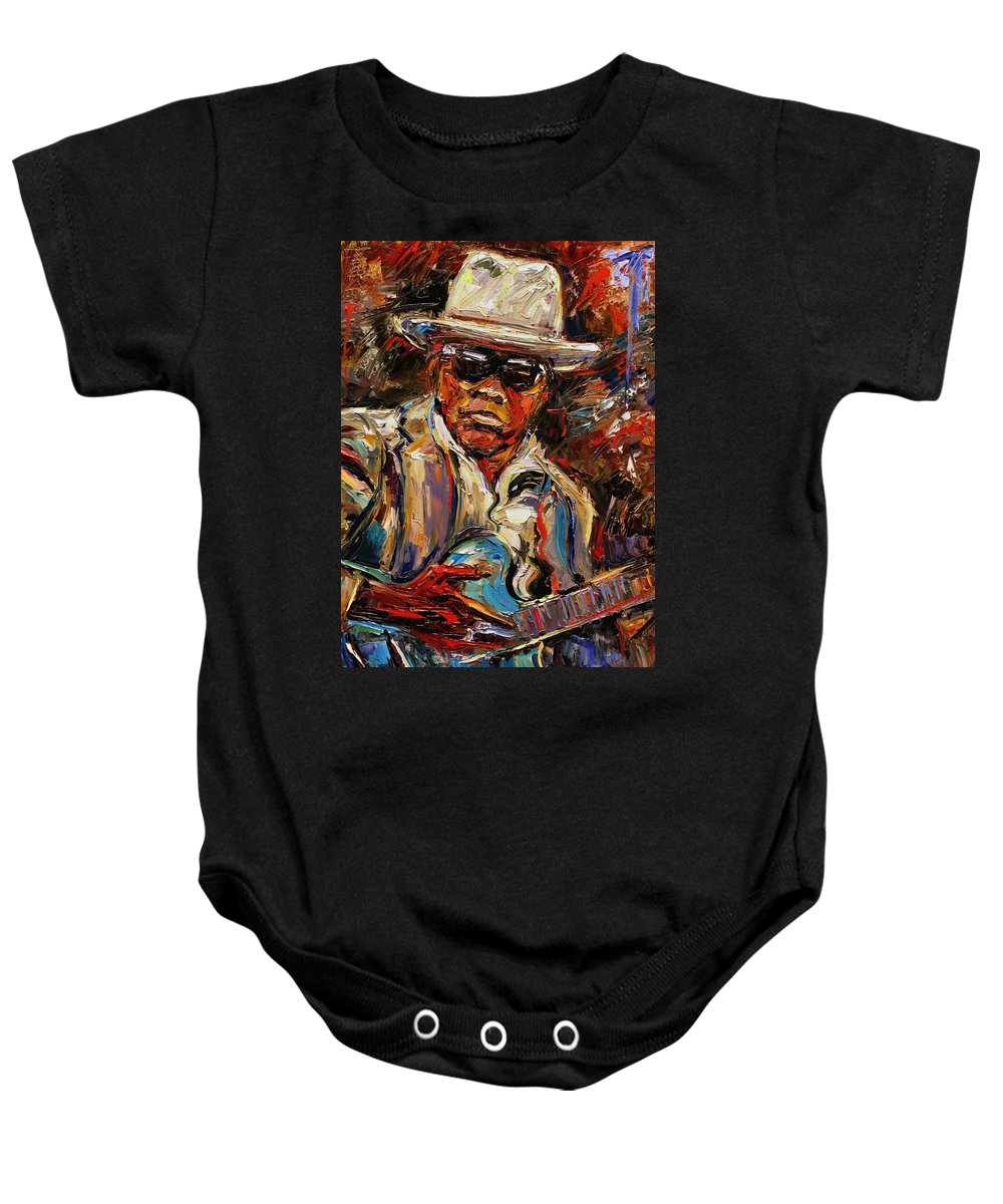 Blues Baby Onesie featuring the painting John Lee Hooker by Debra Hurd