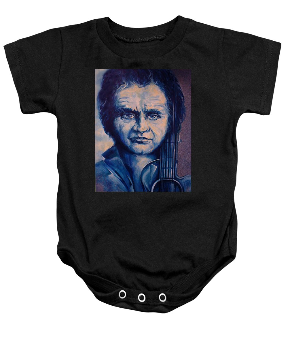Johnny Cash Original Painting Baby Onesie featuring the painting Johnny by Lloyd DeBerry