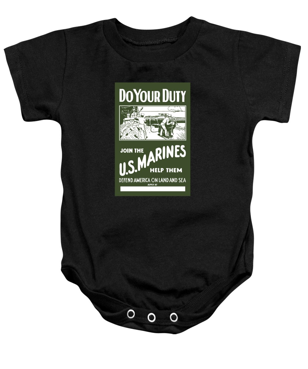 Marine Baby Onesie featuring the painting Join The Us Marines by War Is Hell Store