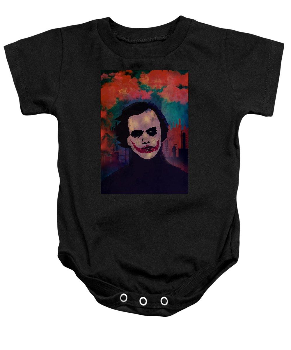 Joker Baby Onesie featuring the painting Joker Heath Ledger The Dark Knight by Adam Ween