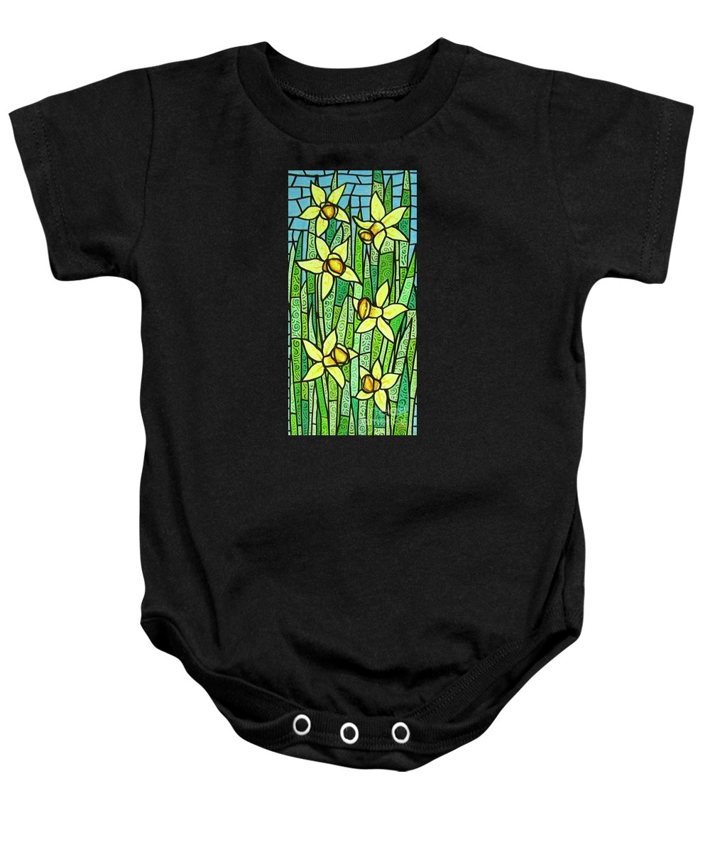 Jonquils Baby Onesie featuring the painting Jonquil Glory by Jim Harris