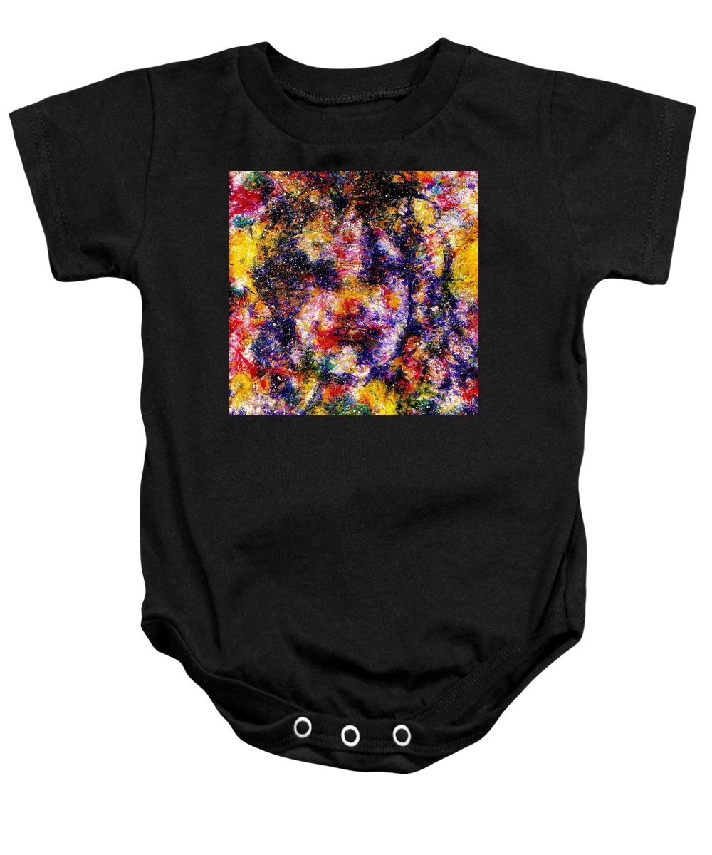 Expressionism Baby Onesie featuring the painting Joyful Clown by Natalie Holland