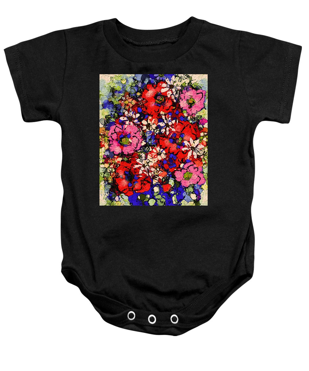 Floral Abstract Baby Onesie featuring the painting Joyful Flowers by Natalie Holland