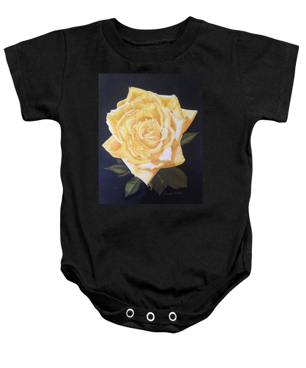 Yellow Rose Of Texas Baby Onesie featuring the drawing Julie's Yellow Rose by Jeannice Gordon