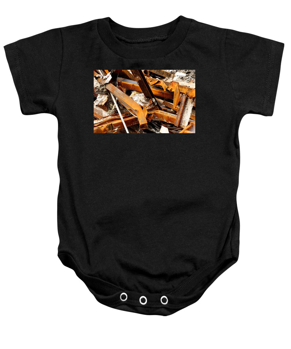 Steel Baby Onesie featuring the photograph Jumbled Steel by Jean Macaluso
