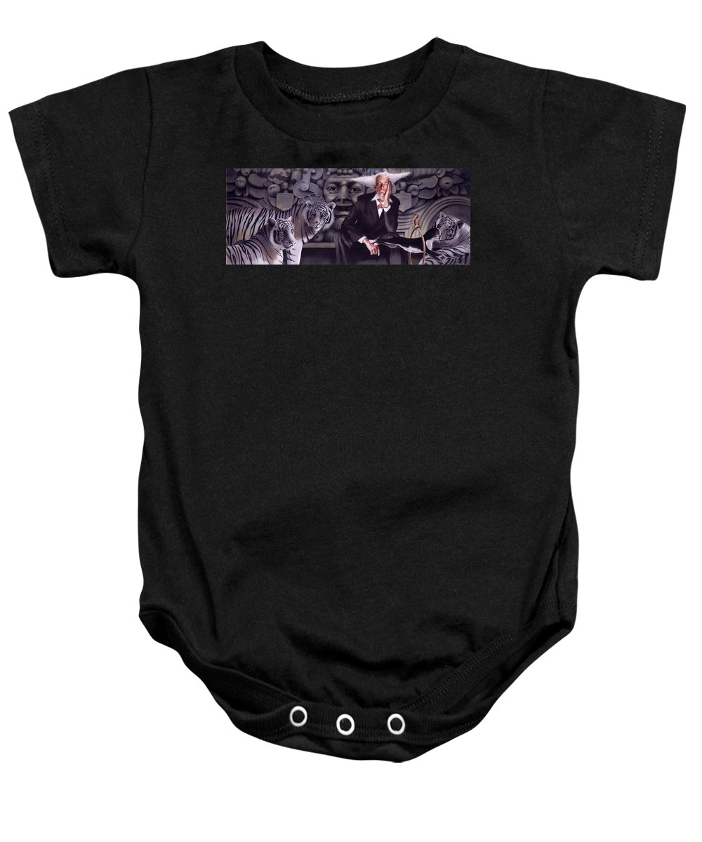 Tigers Baby Onesie featuring the painting Jumping The Hoop by Denny Bond