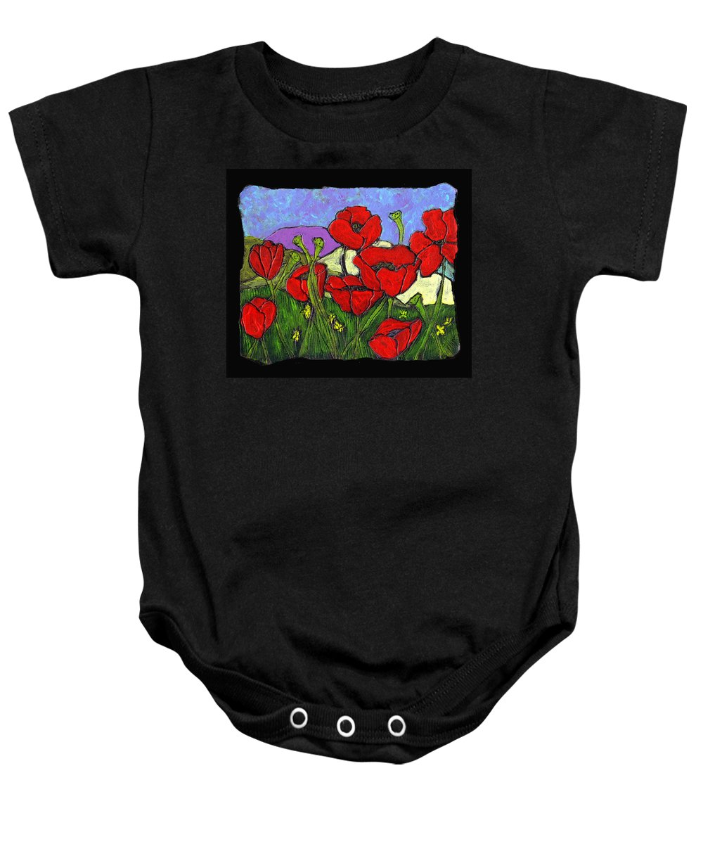 Poppies Baby Onesie featuring the painting June Poppies by Wayne Potrafka
