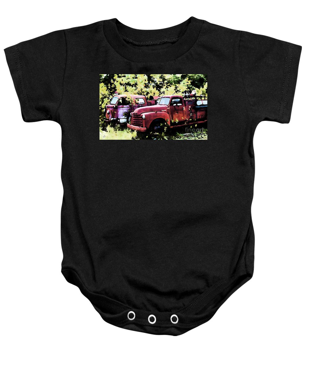 American La France Baby Onesie featuring the digital art Junked Fire Engines by Tommy Anderson