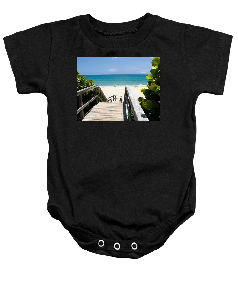 Juno; Florida; Loxahatchee; River; Jupiter; Inlet; Swim; Swimming; Children; Girl; Boy; Woman; Man; Baby Onesie featuring the photograph Juno Beach Florida by Allan Hughes