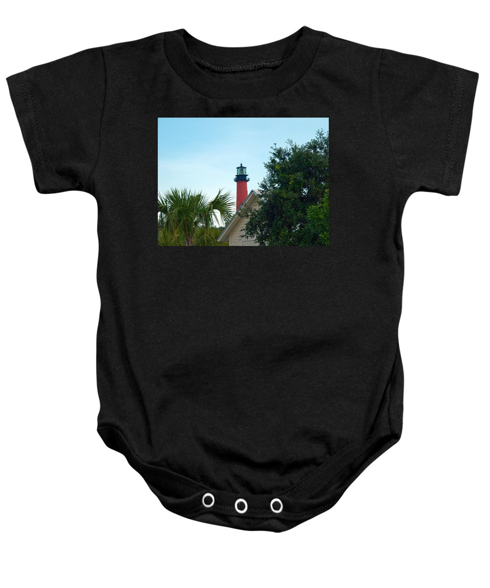 Florida; Juptier; Inlet; Loxahatchee; River; Atlantic; Coast; Shore; Beach; Light; Lighthouse; Beaco Baby Onesie featuring the photograph Jupiter Light by Allan Hughes
