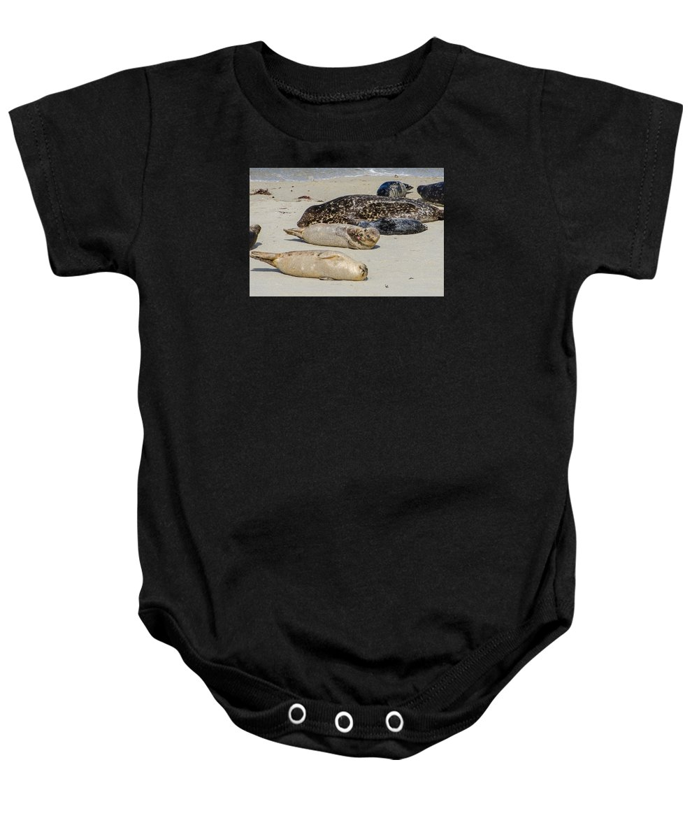 Just Another Day At The Beach Baby Onesie featuring the photograph Just Another Day At The Beach by Susan McMenamin