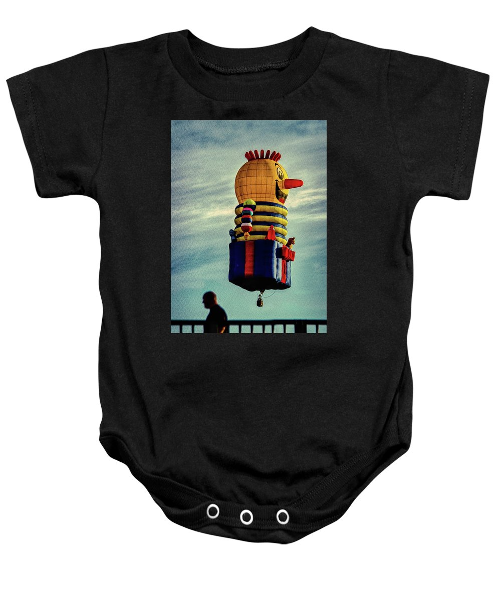 Jack-in-the-box Baby Onesie featuring the photograph Just Passing Through Hot Air Balloon by Bob Orsillo