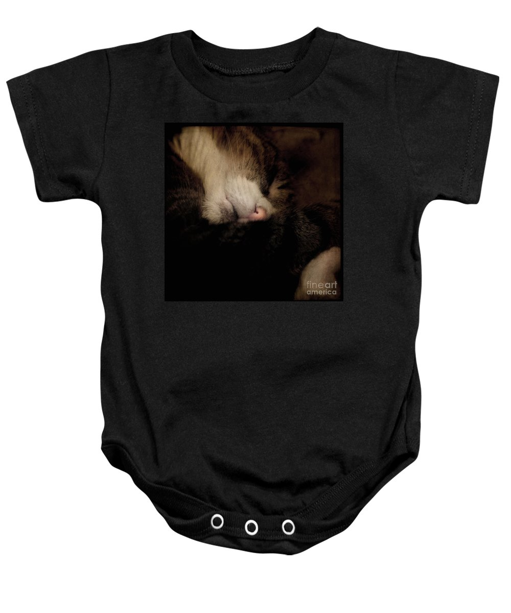 Cat Baby Onesie featuring the photograph Just Sleep by Angel Ciesniarska