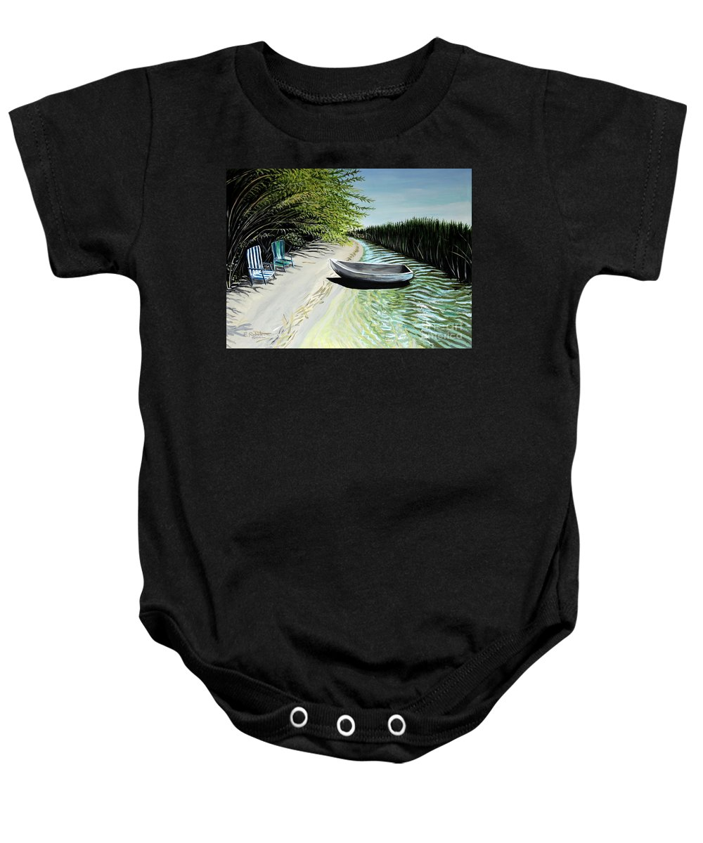 Boat Baby Onesie featuring the painting Just You And I by Elizabeth Robinette Tyndall