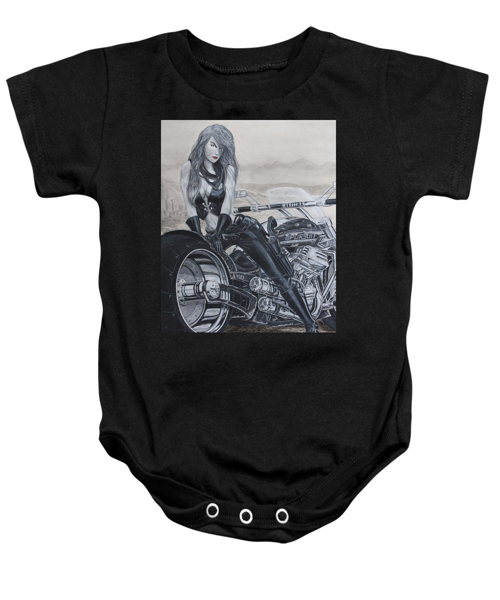 #bike Baby Onesie featuring the drawing Justice by Kristopher VonKaufman