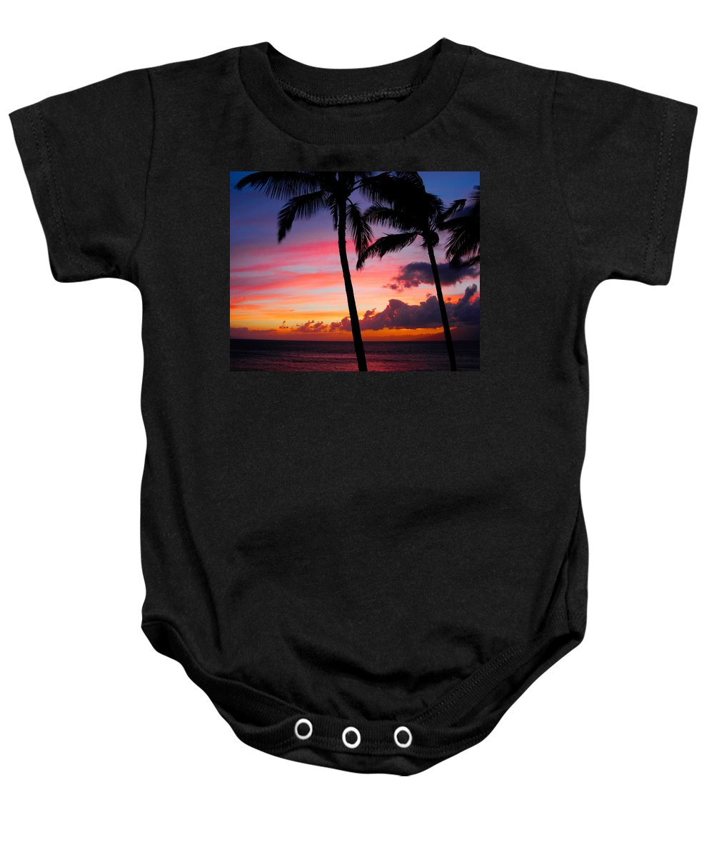 Kaanapali Sunset Baby Onesie featuring the photograph Kaanapali Sunset Kaanapali Maui Hawaii by Michael Bessler